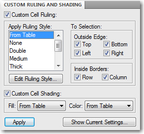 Removing Table Overrides with Custom Ruling & Shading