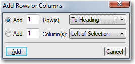 Add Rows or Columns
