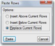 Paste Rows