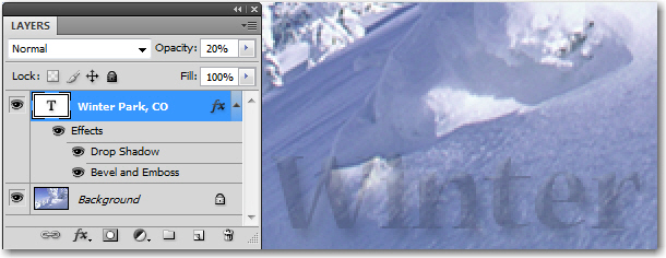 Adobe Photoshop: Reducing the opacity on a layer reduces the opacity of everything on that layer.