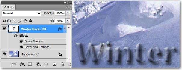 Adobe Photoshop: Adjusting the Fill Opacity only reduces the file, but has no impact on the Layer Styles.