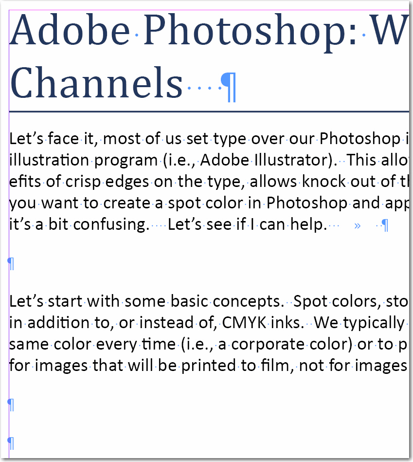 Adobe InDesign: Example of extra spacing.