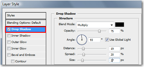 Adobe Photoshop: Set Drop Shadow attributes.