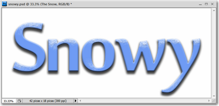 Adobe Photoshop: Snowy text.