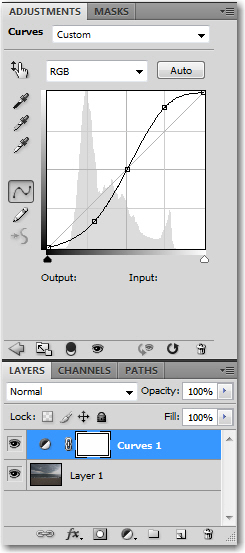 Adobe Photoshop: After the curves adjustment