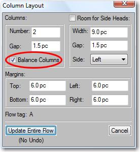 Adobe FrameMaker: Balance columns
