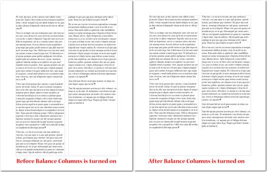 Adobe FrameMaker: Balance columns examples