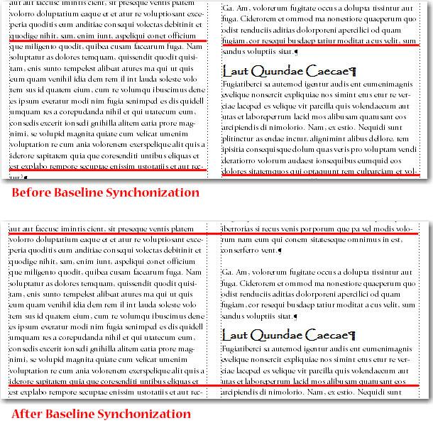 Adobe FrameMaker: Baseline Synchronization examples