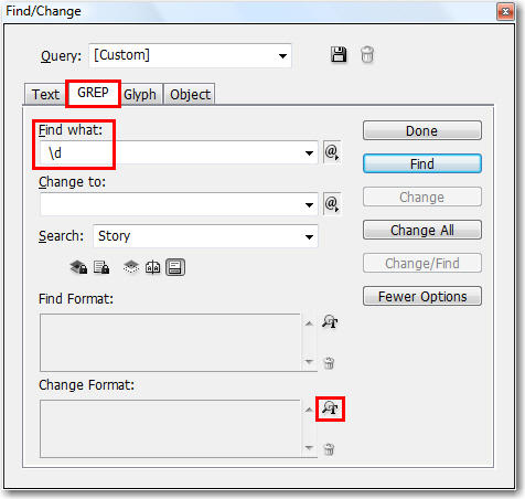Adobe InDesign: GREP Find/Change