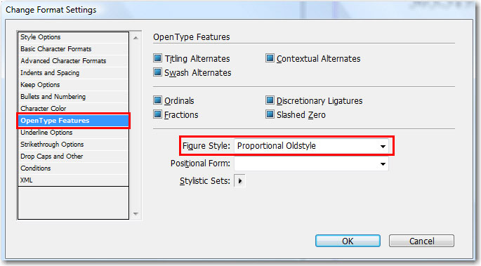 Adobe InDesign: Change Format Settings to Oldstyle