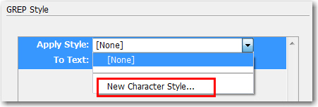 Adobe InDesign: Add a Character Style on the fly