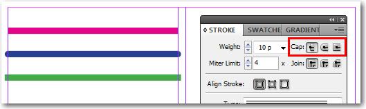 Adobe InDesign: End Cap options