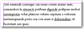Adobe InDesign:underlined text