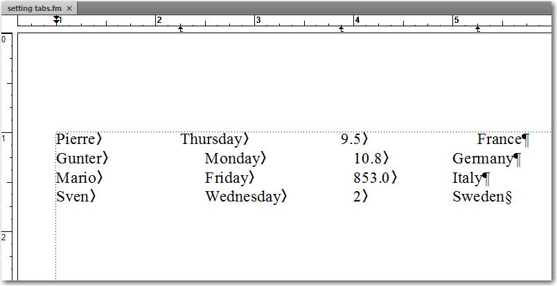 Adobe FrameMaker: Adjusting tab positions
