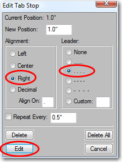Adobe FrameMaker: Setting the leader dots
