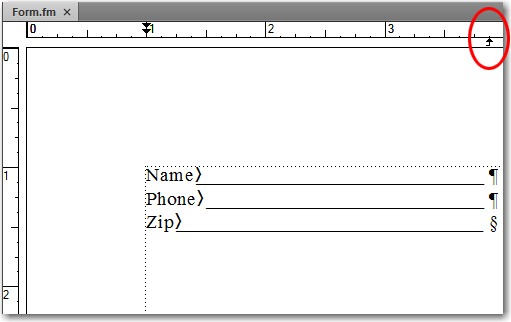 Adobe FrameMaker: easily adjust the line length by dragging the tab arrow