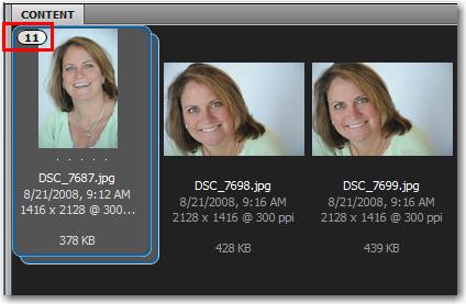 Adobe Bridge: A stack of 11 similar images