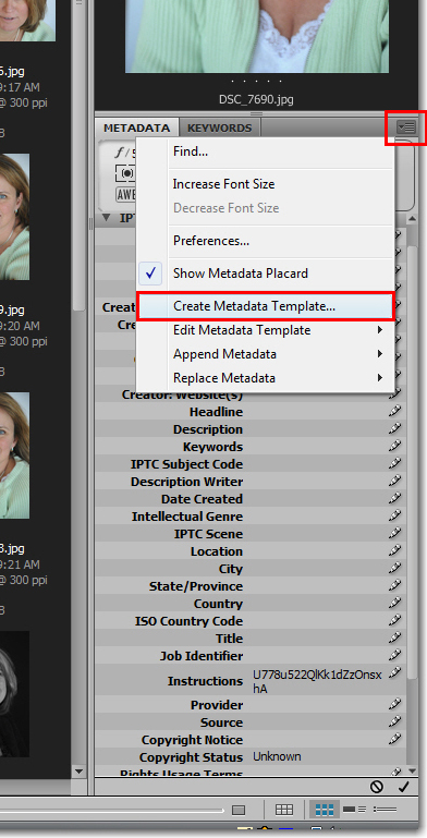 Adobe Bridge: Metadata Templates
