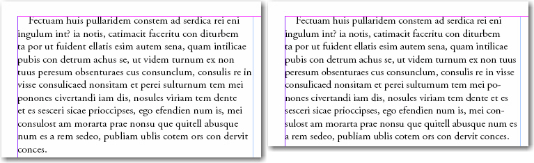 Adobe InDesign: Copyfitting with Tracking. Before and after.