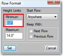 Adobe FrameMaker: Set the minimum row height to zero