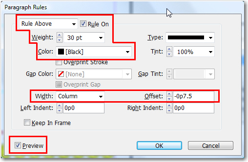 Adobe InDesign: Paragraph Rules dialog box