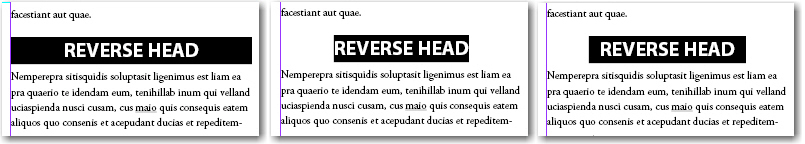 Adobe InDesign: Three variations on a reverse head