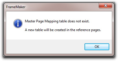 Adobe FrameMaker: A new mapping table will be created in the reference pages