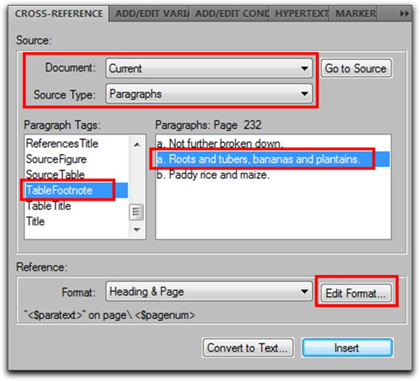 Adobe FrameMaker: Cross reference the TableFootnote