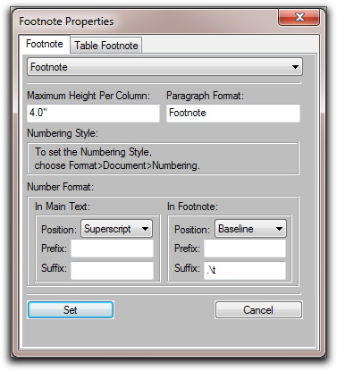 Adobe FrameMaker: Footnote Properties