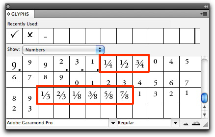 InDesign CS4/CS5: The Glyphs Panel