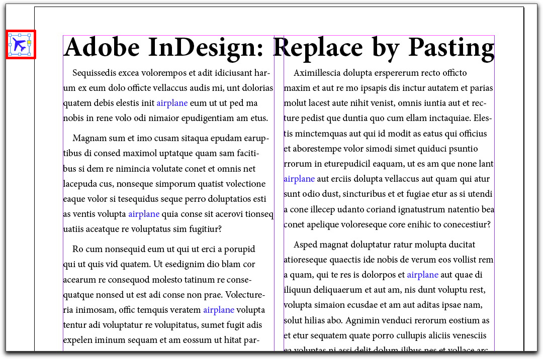Adobe InDesign CS4 & CS5: Replace text with an icon