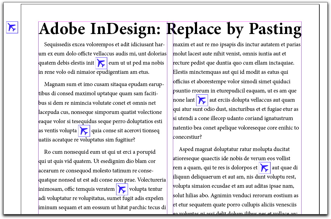 Adobe InDesign CS4 & CS5: Text replaced with an icon