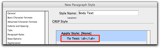 InDesign CS4/CS5: Edit the GREP code to read d+/d+