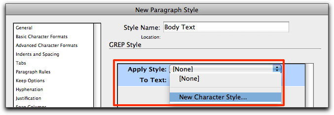 InDesign CS4/CS5: Create a New Character Style