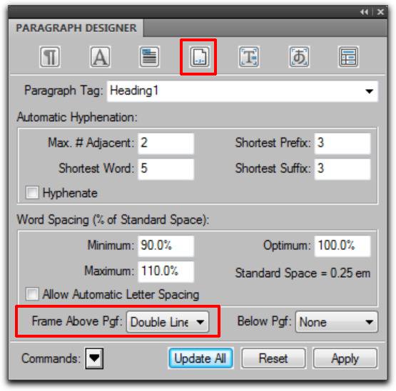 Adobe FrameMaker: Advanced Properties