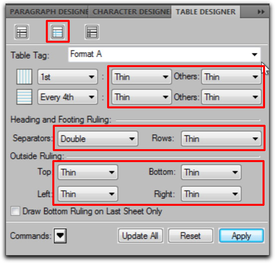 Adobe FrameMaker: Ruling properties in the Table Designer