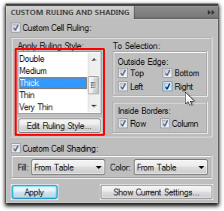 how to add shading to a table