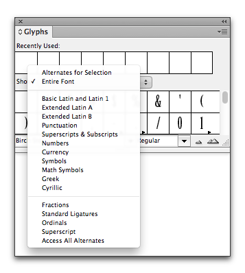 Adobe InDesign: Birch, an OpenType font, doesn't offer numerators or denominators
