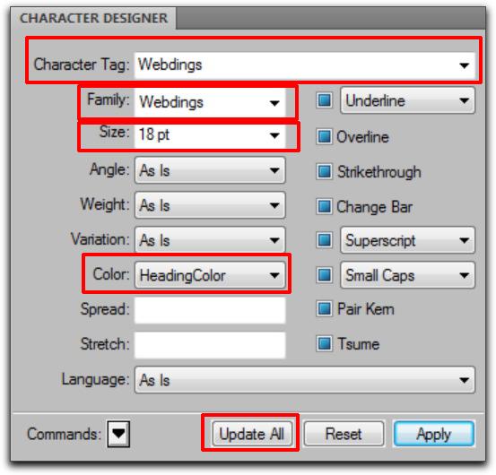 Adobe FrameMaker: Character Designer
