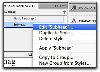 Adobe InDesign CS5: Control+click/Right+click to edit a style