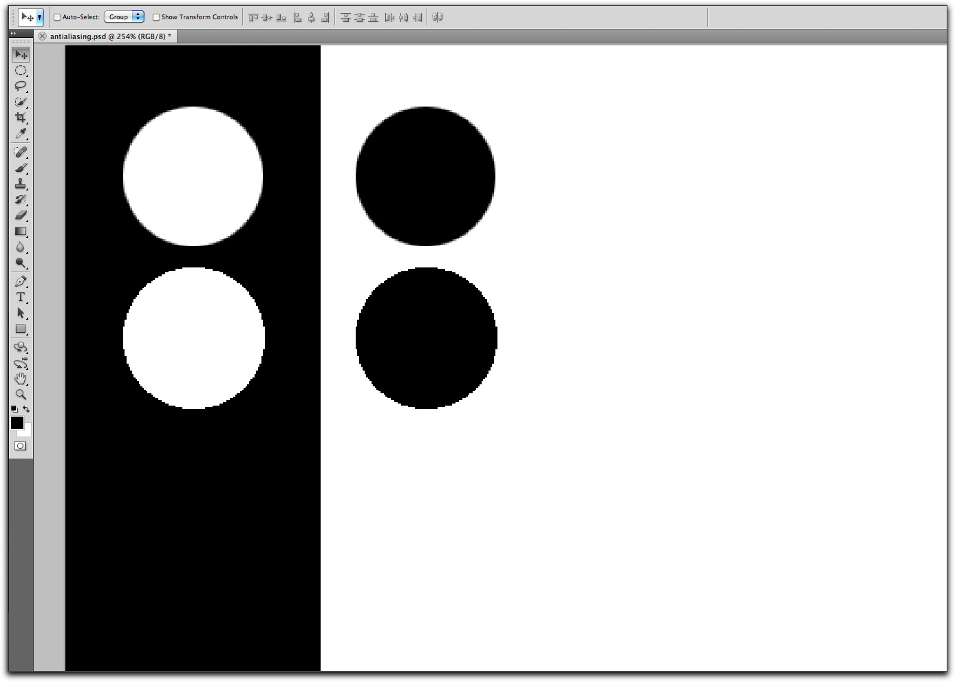 Adobe Photoshop: Top ellipse shows anti-aliasing on, the bottom one shows it turned off,