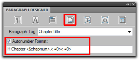Adobe FrameMaker 9: ChapterTitle numbering