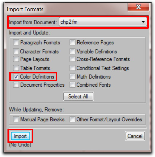 Adobe FrameMaker 9: Import the correct color definitions into all the other files in the book.