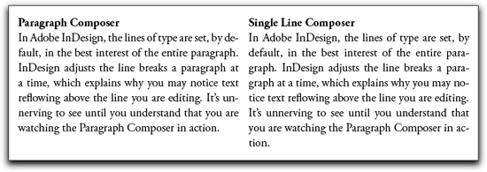 Adobe InDesign: Paragraph Composer on the left, and Single-Line Composer on the Right.