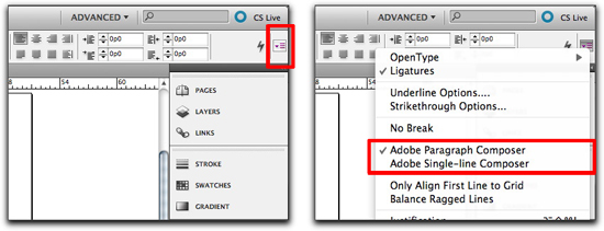 Adobe InDesign: Switch composers in the Control panel menu.