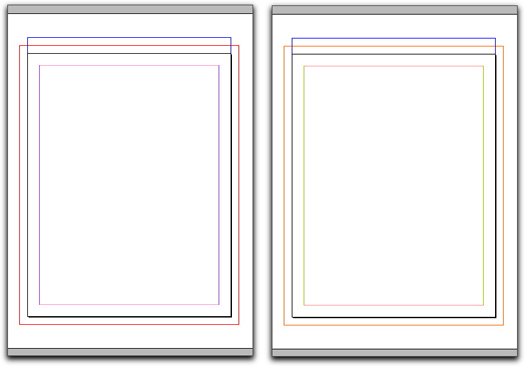 Adobe InDesign: Default colors on the left, custom colors on the right.