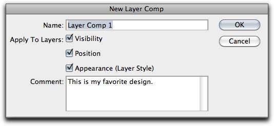 Adobe Photoshop: New Layer Comp dialog box