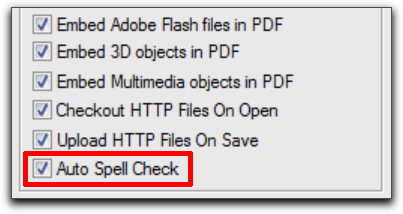 Adobe FrameMaker 10: Activate Auto Spell Check in Preferences