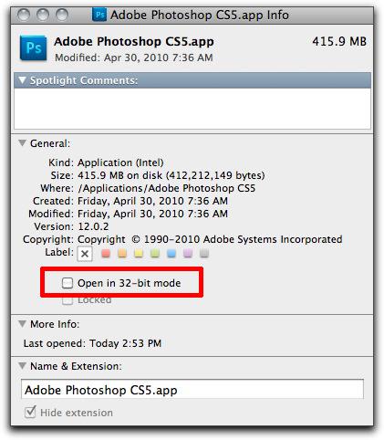Adobe Photoshop CS5: Run in 32-bit Mode