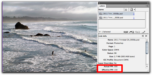 Adobe InDesign: Viewing the Effective Resolution of an image in the LInks panel